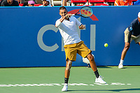 Washington, DC - August 4, 2019:  Nick Kyrgios (AUS) returns the volley during the Citi Open ATP Singles final at William H.G. FitzGerald Tennis Center in Washington, DC  August 4, 2019.  (Photo by Elliott Brown/Media Images International)