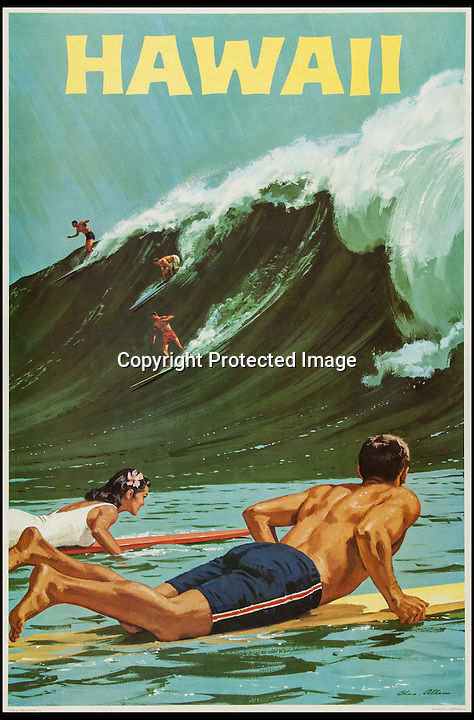BNPS.co.uk (01202 558833)<br /> Pic: Bloomsbury/BNPS<br /> <br /> ***Please Use Full Byline***<br /> <br /> Poster for Hawaii, offset lithograph in colours. <br /> <br /> Scarce vintage travel posters that hark back to the halcyon days of travel across the globe in the 1930s are tipped to sell for &pound;50,000.<br /> <br /> The fine collection of over 100 works of art were used to advertise dream holiday destinations in far-flung places and the luxurious ways of reaching them.<br /> <br /> Most of the advertising posters date back to the 1920s and 1930s and are Art Deco in style.<br /> <br /> They are a celebration of the various modes of transport used by wealthy tourists in the days before air travel and package holidays.<br /> <br /> They are being sold at London auctioneers Bloomsbury next week.