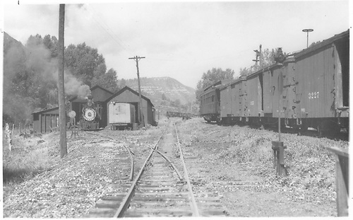 West-facing view as seen from the main line track center of the west Durango RGS terminal at MP161 showing a tail-end view of the Goose #4 and pilot-end view of RGS #25 at the entrance to their respective shelters.  Business car B-20 and three box cars are on the north siding.<br /> RGS  West Durango, CO  Taken by Jackson, Richard B. - ca 1936