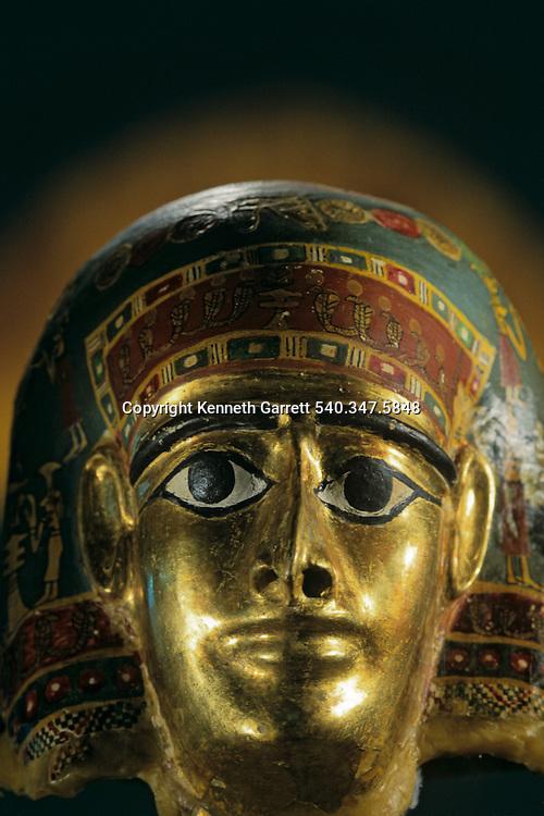 Late Period gold mask found at Ain el-Lebekha, Darb el-Arbaein, trade route, Egypt; Archaeologist; Salima Ikram; Kharga Oasis;Ancient Cultures; mm7195; Desert; Oasis, Kharga Regional Museum