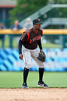 Indianapolis Indians second baseman Darnell Sweeney (43) during an International League game against the Buffalo Bisons on June 20, 2019 at Sahlen Field in Buffalo, New York.  Buffalo defeated Indianapolis 11-8  (Mike Janes/Four Seam Images)