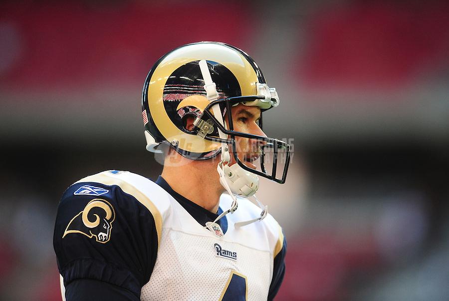 Dec. 5, 2010; Glendale, AZ, USA; St. Louis Rams quarterback (4) A.J. Feeley against the Arizona Cardinals at University of Phoenix Stadium. Mandatory Credit: Mark J. Rebilas-