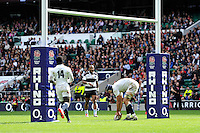 Josh Beaumont of England touches down under the posts during the match between England and Barbarians at Twickenham Stadium on Sunday 31st May 2015 (Photo by Rob Munro)
