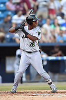 Augusta GreenJackets shortstop Manuel Geraldo (26) awaits a pitch during a game against the Asheville Tourists at McCormick Field on June 15, 2018 in Asheville, North Carolina. The Tourists defeated the GreenJackets 6-5. (Tony Farlow/Four Seam Images)