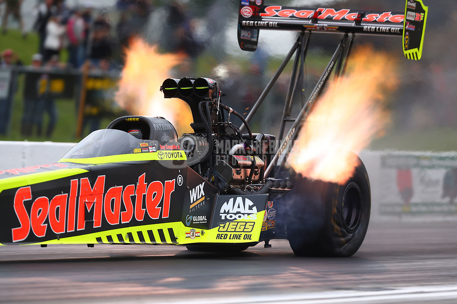 May 19, 2017; Topeka, KS, USA; NHRA top fuel driver Troy Coughlin Jr during qualifying for the Heartland Nationals at Heartland Park Topeka. Mandatory Credit: Mark J. Rebilas-USA TODAY Sports