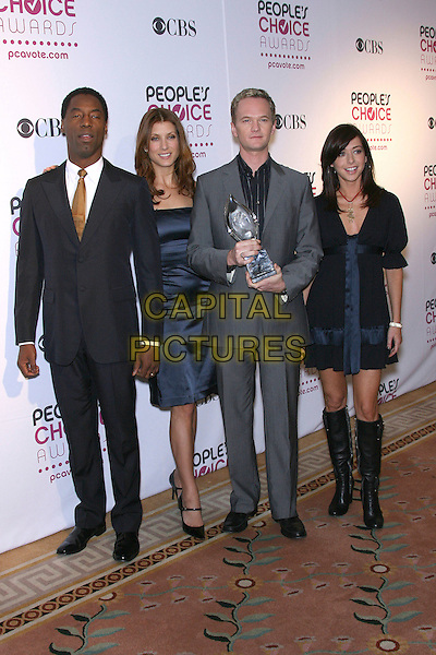 ISAIAH WASHINGTON, KATE WALSH, MEIL PATRICK HARRIS & ALYSON HANNIGAN.The 33rd Annual People's Choice Awards Nominations Announcement held at The Peninsula Hotel, Beverly Hills, California, USA..November 7th, 2006.Ref: ADM/ZL.full length blue dress satin black suit grey gray award trophy.www.capitalpictures.com.sales@capitalpictures.com.©Zach Lipp/AdMedia/Capital Pictures.