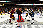 ST PAUL, MN - APRIL 7: Karson Kuhlman #20 of the Minnesota-Duluth Bulldogs and Jake Evans #18 of the Notre Dame Fighting Irish pose for the ceremonial puck drop during the Division I Men's Ice Hockey Championship held at the Xcel Energy Center on April 7, 2018 in St Paul, Minnesota. (Photo by Tim Nwachukwu/NCAA Photos via Getty Images)