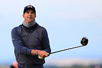 Kevin Pieterson (AM) playing with Bernd Wiesberger (AUT) on the 16th tee during Round 3 of the Alfred Dunhill Links Championship 2019 at St. Andrews Golf CLub, Fife, Scotland. 28/09/2019.<br /> Picture Thos Caffrey / Golffile.ie<br /> <br /> All photo usage must carry mandatory copyright credit (© Golffile | Thos Caffrey)