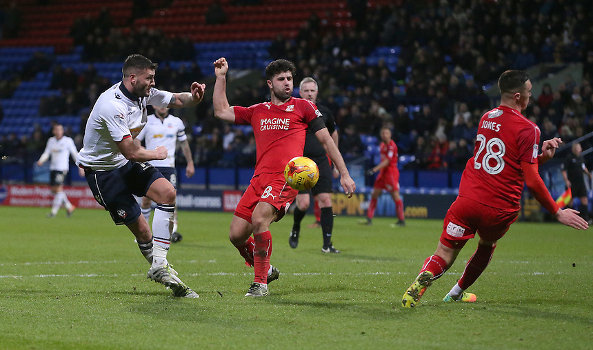 Bolton Wanderers' Gary Madine sees his shot rebound of Swindon Town's Lloyd Jones<br /> <br /> Photographer Stephen White/CameraSport<br /> <br /> The EFL Sky Bet League One - Bolton Wanderers v Swindon Town - Saturday 14th January 2017 - Macron Stadium - Bolton<br /> <br /> World Copyright &copy; 2017 CameraSport. All rights reserved. 43 Linden Ave. Countesthorpe. Leicester. England. LE8 5PG - Tel: +44 (0) 116 277 4147 - admin@camerasport.com - www.camerasport.com