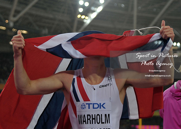Karsten WARHOLM (NOR) celebrates winning in the mens 400m hurdles final. IAAF world athletics championships. London Olympic stadium. Queen Elizabeth Olympic park. Stratford. London. UK. 09/08/2017. ~ MANDATORY CREDIT Garry Bowden/SIPPA - NO UNAUTHORISED USE - +44 7837 394578
