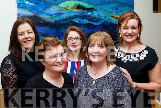 L-R Karen White, Margaret Falvey, Joan McDaid, Liz Kelliher and Mary B O'Connor all enjoying Eileen Walsh's retirement party in the Ballyroe Heights hotel, Tralee last Saturday night.