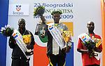 ATLETIKA, Beograd, 18. Apr. 2009. - Kenijski atleticari Viktor Kiplagat, Sylvester Kipyego i Julius Kiplagat pobednici 22. Beogradskog maratona. FOTO NENAD NEGOVANOVIC
