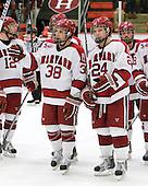 Conor Morrison (Harvard - 38), Luke Greiner (Harvard - 24) - The Harvard University Crimson defeated the St. Lawrence University Saints 4-3 on senior night Saturday, February 26, 2011, at Bright Hockey Center in Cambridge, Massachusetts.
