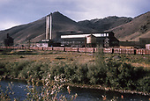 The D&amp;RGW yards and shops with many gondolas parked as viewed from across the Arkansas River.<br /> D&amp;RGW  Salida, CO