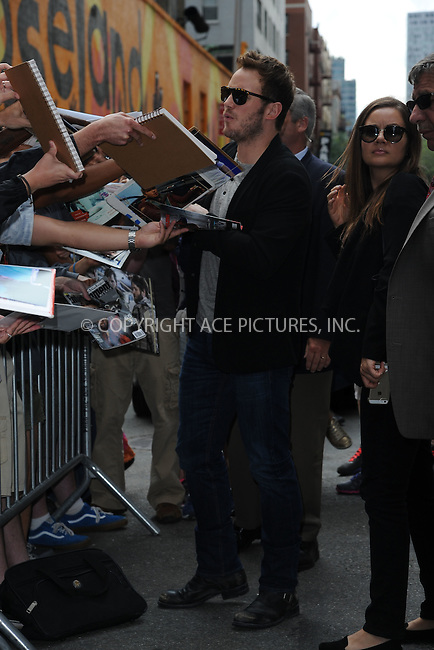 WWW.ACEPIXS.COM <br /> July 29, 2014 New York City<br /> <br /> Chris Pratt tapes an appearance on the Late Show with David Letterman on July 29, 2014 in New York City.<br /> <br /> Please byline: Kristin Callahan/ACE Pictures  <br /> <br /> ACEPIXS.COM<br /> Ace Pictures, Inc<br /> tel: (212) 243 8787 or (646) 769 0430<br /> e-mail: info@acepixs.com<br /> web: http://www.acepixs.com