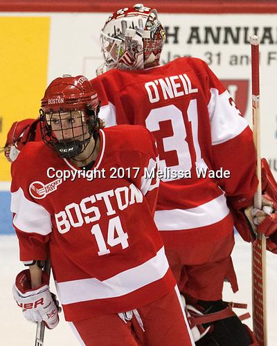 Maddie Elia (BU - 14), Erin O'Neil (BU - 31) - The Harvard University Crimson tied the Boston University Terriers 6-6 on Monday, February 7, 2017, in the Beanpot consolation game at Matthews Arena in Boston, Massachusetts.