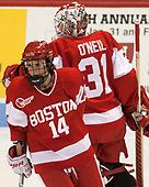 Maddie Elia (BU - 14), Erin O'Neil (BU - 31) - The Harvard University Crimson tied the Boston University Terriers 6-6 on Monday, February 7, 2017, in the Beanpot consolation game at Matthews Arena in Boston, Massachusetts.