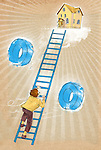 Illustrative concept of man climbing ladder representing increase in property rates