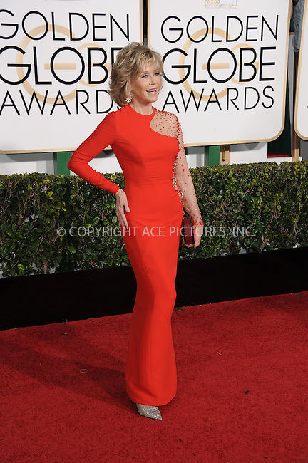 WWW.ACEPIXS.COM<br /> <br /> January 11 2015, LA<br /> <br /> Jane Fonda arriving at the 72nd Annual Golden Globe Awards at The Beverly Hilton Hotel on January 11, 2015 in Beverly Hills, California. <br /> <br /> <br /> By Line: Peter West/ACE Pictures<br /> <br /> <br /> ACE Pictures, Inc.<br /> tel: 646 769 0430<br /> Email: info@acepixs.com<br /> www.acepixs.com