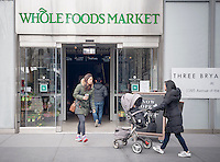 The new Whole Foods Market opposite Bryant Park in New York on opening day Saturday, January 28, 2017. The store in Midtown Manhattan is the chain's 11th store to open in the city. The store has a large selection of prepared foods from a diverse group of vendors inside the store.  (© Richard B. Levine)