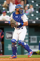 Buffalo Bisons catcher Tony Sanchez (26) checks the runner during a game against the Lehigh Valley IronPigs on July 9, 2016 at Coca-Cola Field in Buffalo, New York.  Lehigh Valley defeated Buffalo 9-1 in a rain shortened game.  (Mike Janes/Four Seam Images)