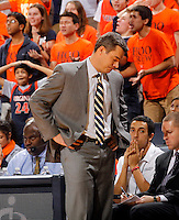 Virginia head coach Tony Bennett reacts to a call during the game Wednesday in Charlottesville, VA. Virginia defeated Tennessee 46-38.