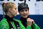 18.11.2018, Halle Berg Fidel, Muenster<br />Volleyball, Bundesliga Frauen, Normalrunde, USC MŸnster / Muenster vs. VfB Suhl Lotto ThŸringen / Thueringen<br /><br />Lena Vedder (#14 Muenster), Chiara Hoenhorst (#15 Muenster)<br /><br />  Foto &copy; nordphoto / Kurth