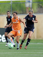 Skyblue FC forward Kerri Hanks (16) and Washington Freedom defender Cat Whitehill (4). The Skyblue FC defeated the Washington Freedom 2-1 in first round of WPS playoffs at the Maryland Soccerplex, Saturday, August 15, 2009.