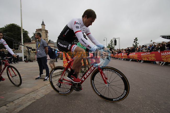 Gregory Rast (SUI) Trek-Segafredo team arrives for the team presentations before the start of the 2016 Tour de France, Sainte-Mere-Eglise, France . 30th June 2016.<br /> Picture: Eoin Clarke | Newsfile<br /> <br /> <br /> All photos usage must carry mandatory copyright credit (&copy; Newsfile | Eoin Clarke)