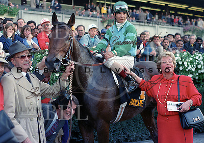 Creme Fraiche after winning his second Jockey Club Gold Cup.  Laffit Pincay is aboard, Woody Stephens at left, Betty Moran in front.
