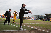Newport County manager Michael Flynn appeals for full time during the Sky Bet League 2 match between Newport County and Notts County at Rodney Parade, Newport, Wales on 6 May 2017. Photo by Mark  Hawkins / PRiME Media Images.