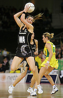 21.07.2007 Silver Ferns Adine Wilson in action during the Silver Ferns v Australia Netball Test Match at Vodafone Arena, Melbourne Australia. The Silver Ferns won 67-65 after double extra time. Mandatory Photo Credit ©Michael Bradley. **$150 + GST USAGE FEE DOES APPLY**