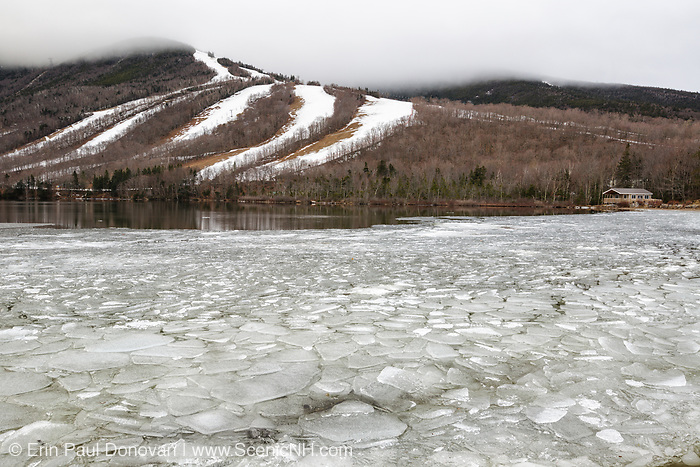 Cannon Mountain from Echo Lake in Franconia Notch State Park of the New Hampshire White Mountains during the winter months.