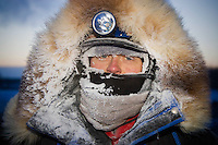 Clint Warnke is frosted up at the Nikolai checkpoint on Tuesday at -35 temperatures