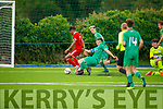 Kerrys Shane Jordan puts in the tackle on Ricardo Dianangal of Cork City in the U19 soccer league.