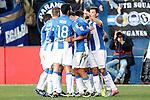 CD Leganes' players celebrate goal during La Liga match. December 18,2016. (ALTERPHOTOS/Acero)