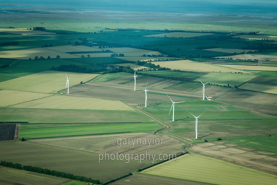 Aerial view of Gedney Marsh wind farm, Lincolnshire - 6 x 2mw turbines