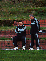 All Blacks forward coach Steve Hansen chats with head coach Graham Henry. All Blacks Training Session at Rugby League Park, Newtown, Wellington. Thursday 17 September 2009. Photo: Dave Lintott/lintottphoto.co.nz