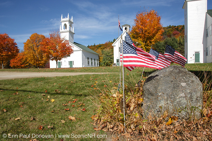 The Congregational Church & Schoolhouse in Washington, New Hampshire USA. Washington is the first town incorporated under the name of George Washington.