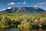 Beautiful Mt Katahdin and Baxter State Park over the Penobscot River, Baxter State Park, ME, USA