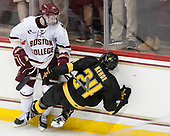 Connor Moore (BC - 7), Kade Kehoe (CC - 24) - The Boston College Eagles defeated the visiting Colorado College Tigers 4-1 on Friday, October 21, 2016, at Kelley Rink in Conte Forum in Chestnut Hill, Massachusetts.The Boston College Eagles defeated the visiting Colorado College Tiger 4-1 on Friday, October 21, 2016, at Kelley Rink in Conte Forum in Chestnut Hill, Massachusett.