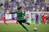 Orlando, FL - Saturday April 22, 2017: Stephanie Labbé during a regular season National Women's Soccer League (NWSL) match between the Orlando Pride and the Washington Spirit at Orlando City Stadium.