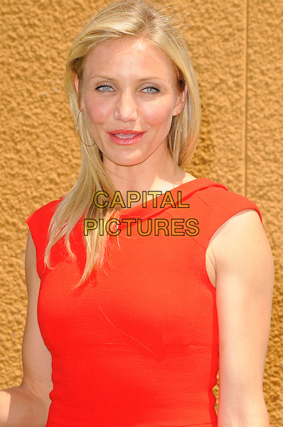 "CAMERON DIAZ .at DreamWorks Animation's ""Shrek Forever After"" L.A. Film Premiere held at Gibson Amphitheatre at Universal CityWalk, Universal City, California, USA, May 16th, 2010. .arrivals portrait headshot make-up lipstick red sleeveless  gold hoop earrings .CAP/ROT.©Lee Roth/Capital Pictures"