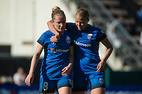 Seattle, WA - Sunday, May 1, 2016: Seattle Reign FC midfielder Kim Little (8) and forward Merritt Mathias (9) during the second half of a National Women's Soccer League (NWSL) match at Memorial Stadium. Seattle won the match 1-0.