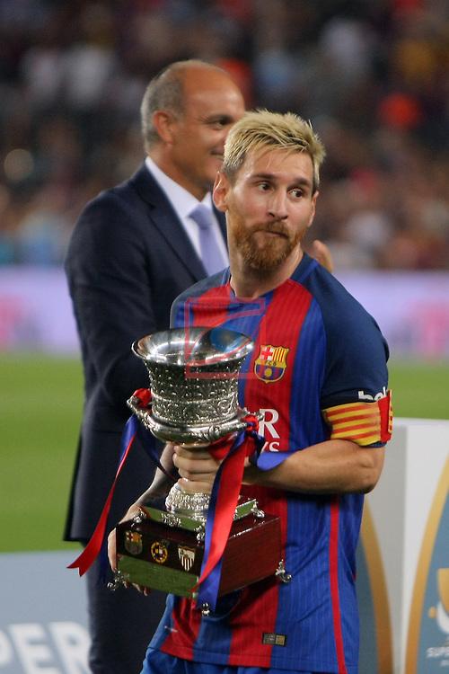 League Santander 2016/2017.<br /> Supercopa de Espa&ntilde;a - Vuelta.<br /> FC Barcelona vs Sevilla FC: 3-0.<br /> Lionel Messi.