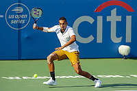 Washington, DC - August 4, 2019:  Nick Kyrgios (AUS) gets ready to return the ball during the Citi Open ATP Singles final at William H.G. FitzGerald Tennis Center in Washington, DC  August 4, 2019.  (Photo by Elliott Brown/Media Images International)