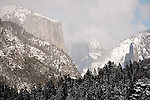 Snow El Capitan and Yosemite Valley, Half Dome in the clouds, Yosemite National Park, Calif.