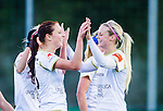 Solna 2015-10-11 Fotboll Damallsvenskan AIK - FC Roseng&aring;rd :  <br /> Roseng&aring;rds Malin Gunnarsson firar sitt 0-5 m&aring;l med Amanda Ilestedt under matchen mellan AIK och FC Roseng&aring;rd <br /> (Foto: Kenta J&ouml;nsson) Nyckelord:  Damallsvenskan Allsvenskan Dam Damer Damfotboll Skytteholm Skytteholms IP AIK Gnaget  FC Roseng&aring;rd jubel gl&auml;dje lycka glad happy