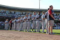 Lake County Captains line up for the national anthem prior to the game against the Dayton Dragons at Fifth Third Field on June 25, 2012 in Dayton, Ohio. Lake County defeated Dayton 8-3. (Brace Hemmelgarn/Four Seam Images)