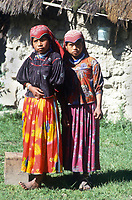 Portrait of two girls. Wixarika (Huichol) community in the Sierra Madre Occidental, Mexico